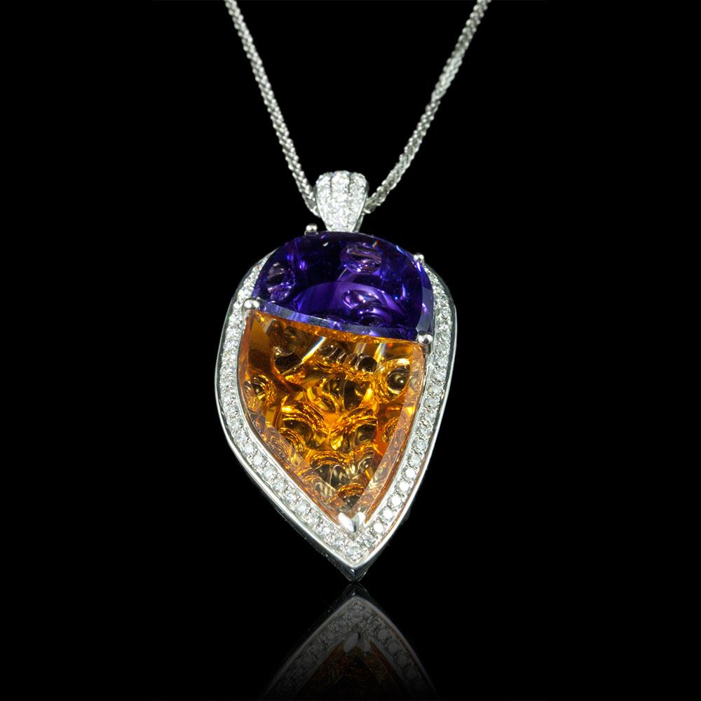 Amethyst citrine diamond pendant landmark jewelers ltd amethyst citrine diamond pendant aloadofball Images