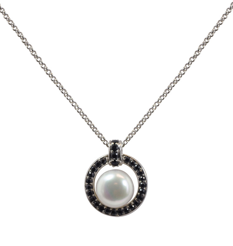 Sterling Silver 10-10.5mm White Button Freshwater Cultured Pearl with Black Sapphire Circle Pendant on 18 Chain