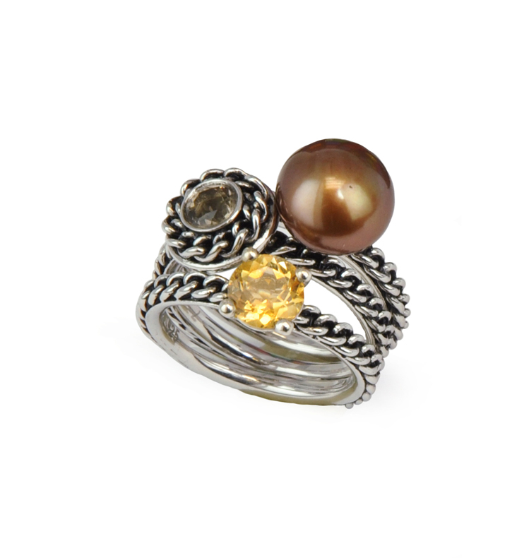 Sterling Silver 10-10.5MM Chocolate Button Freshwater Cultured Pearl Smoky Quartz and Citrine Stack Ring