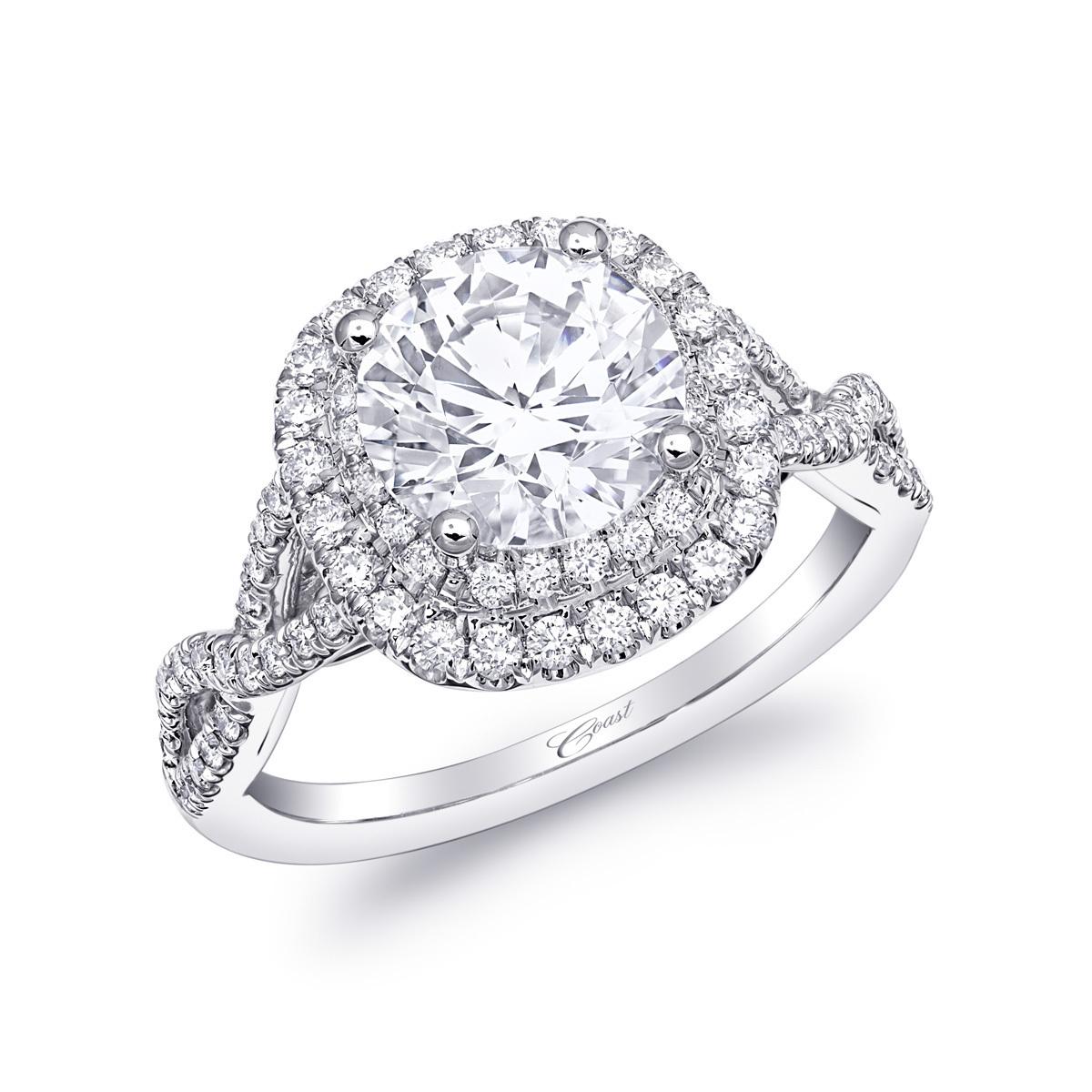 Charisma Engagement Ring - Double Halo Twist Shank
