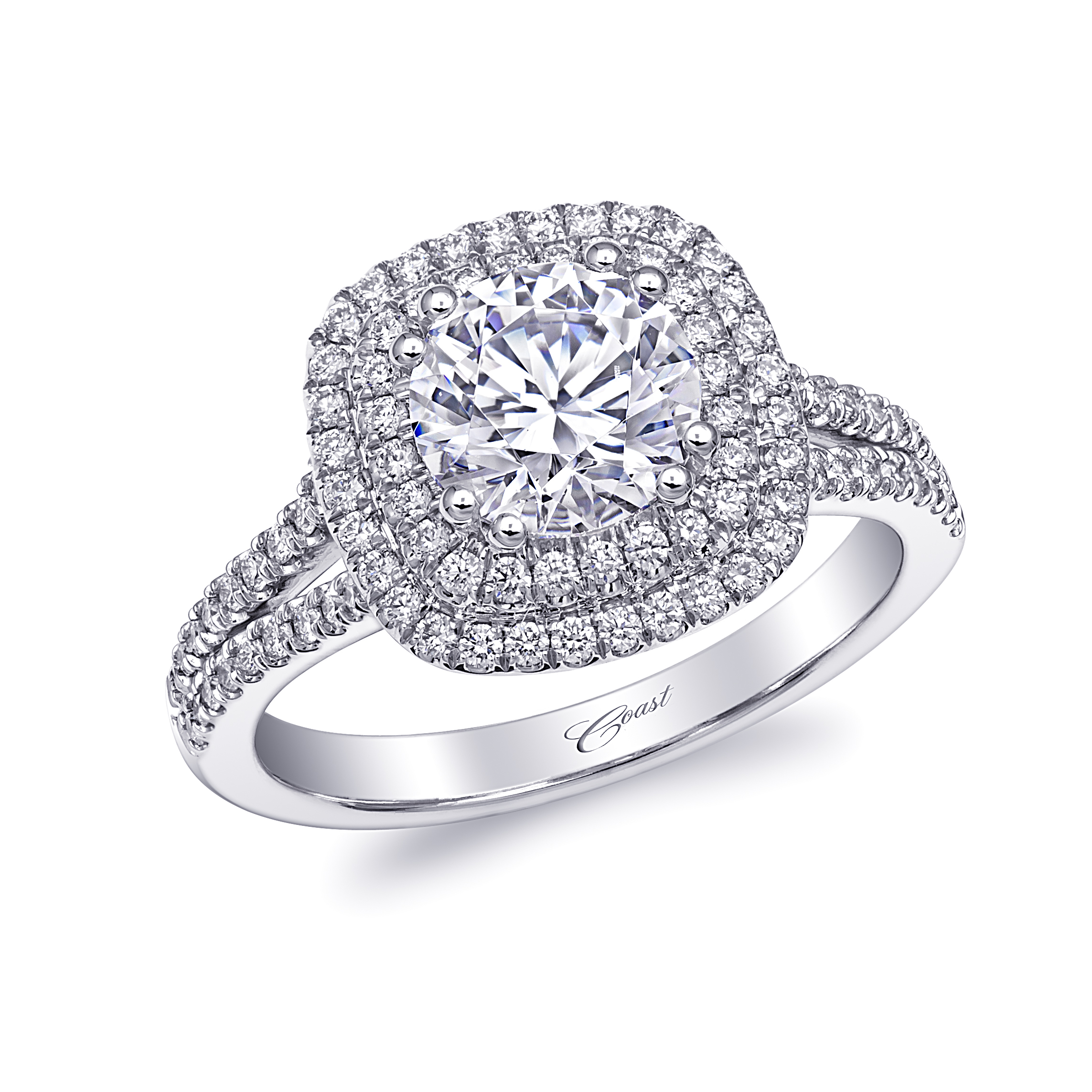 Charisma Engagement Ring - Double Halo Split Shank