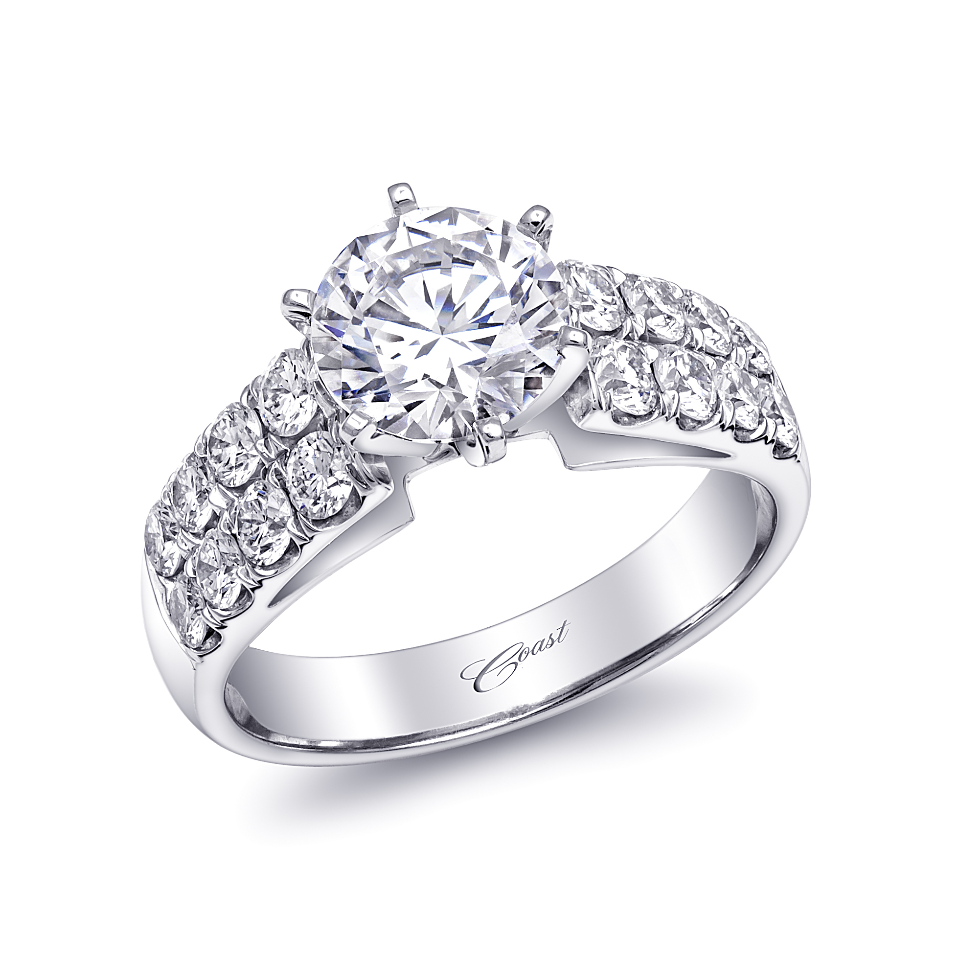 Charisma Engagement Ring - Double Row Diamond Shank