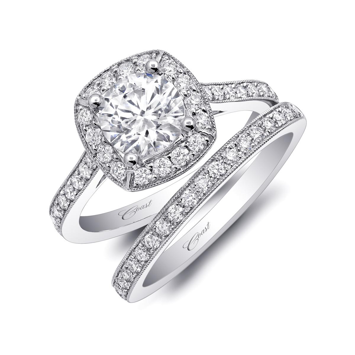Romance Engagement Ring  Pave Diamond Halo