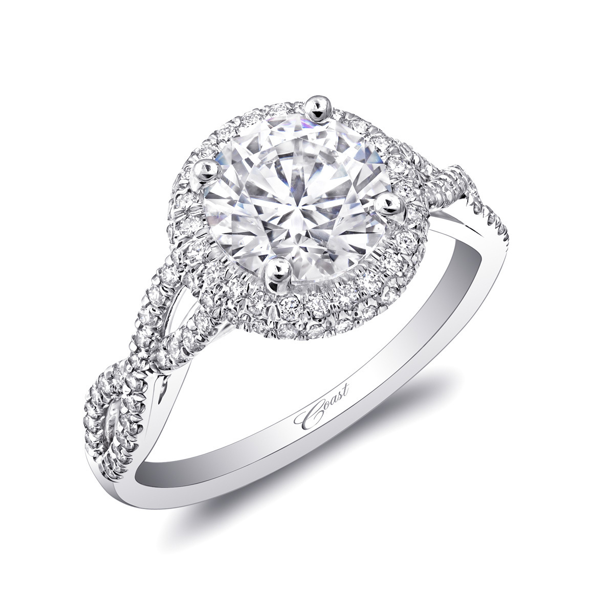 Charisma Engagement Ring - Diamond Halo & Braided Shank