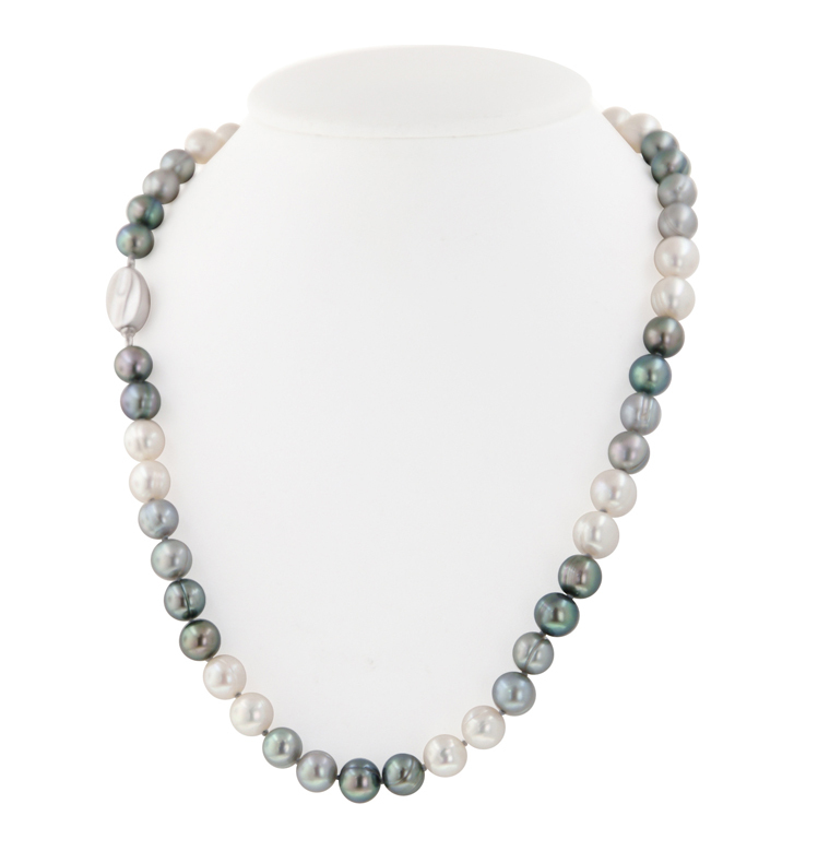 Sterling Silver 8-9MM Black, White and Gray Ringed Freshwater Cultured Pearl 18 Necklace
