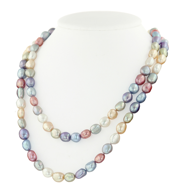 Sterling Silver 8-9MM Wildflower Baroque Freshwater Cultured Pearl 36 Necklace