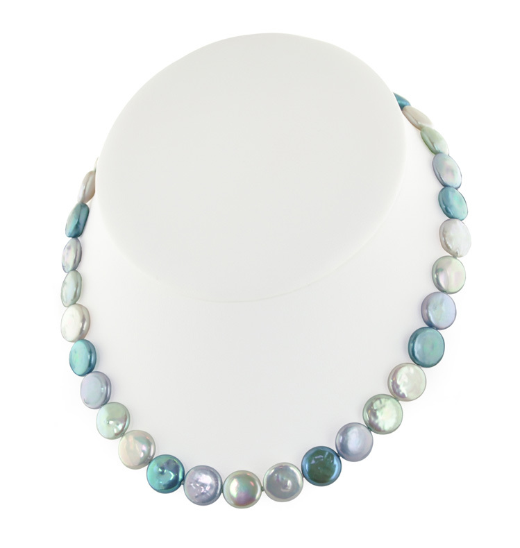 Sterling Silver 11-13mm Halo Coin Freshwater Cultured Pearl 18 Necklace