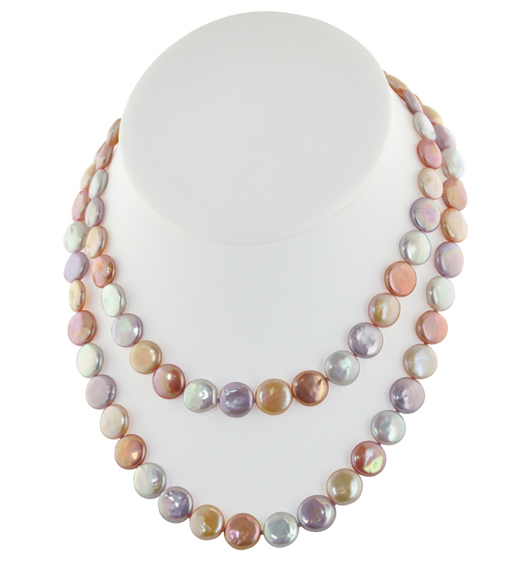 Sterling Silver 11-13mm Pink Halo Coin Freshwater Cultured Pearl 36 Necklace