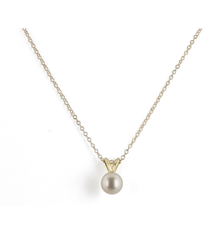14K 6+MM White Freshwater Cultured Pearl 16 Pendant