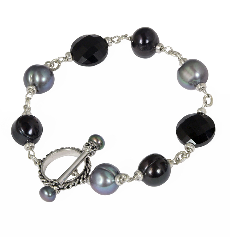 Sterling Silver 5-10mm Black and Jet Freshwater Cultured Pearl with Black Onyx 8 Bracelet