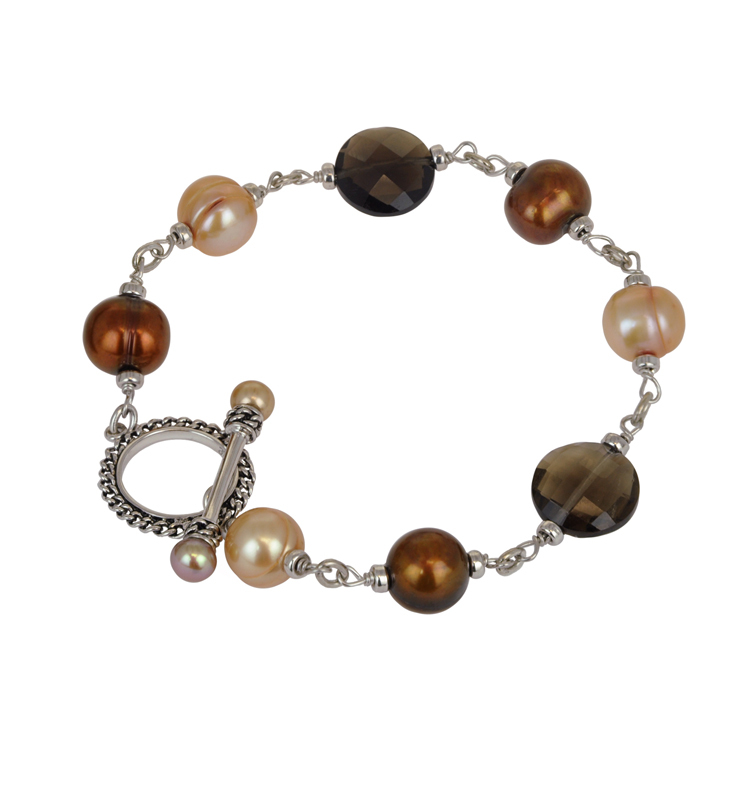 Sterling Silver 5-10mm Chocolate and Mocha Freshwater Cultured Pearl with Smoky Quartz 8 Bracelet