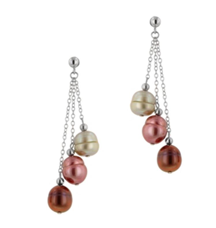 Sterling Silver 8-9MM Gelato Ringed Freshwater Cultured Pearl Dangle Earrings