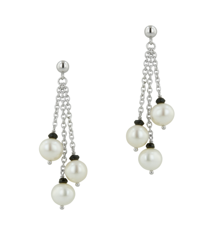 Sterling Silver 6.5-7MM Potato White Freshwater Cultured Pearl and Onyx Dangle Earrings