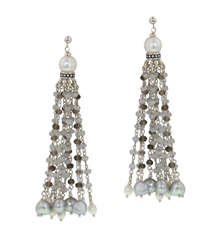 Sterling Silver 4-8.5MM White and Gray Freshwater Cultured Pearl, Moonstone and Onyx Earrings