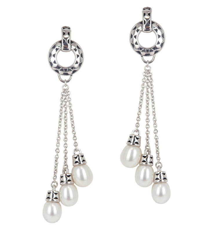 Sterling Silver 6-6.5MM White Freshwater Cultured Pearl Dangle Earrings