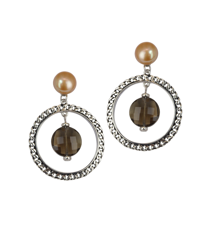 Sterling Silver 9-10MM Chocolate Freshwater Cultured Pearl with Smoky Quartz Hoop Dangle Earrings