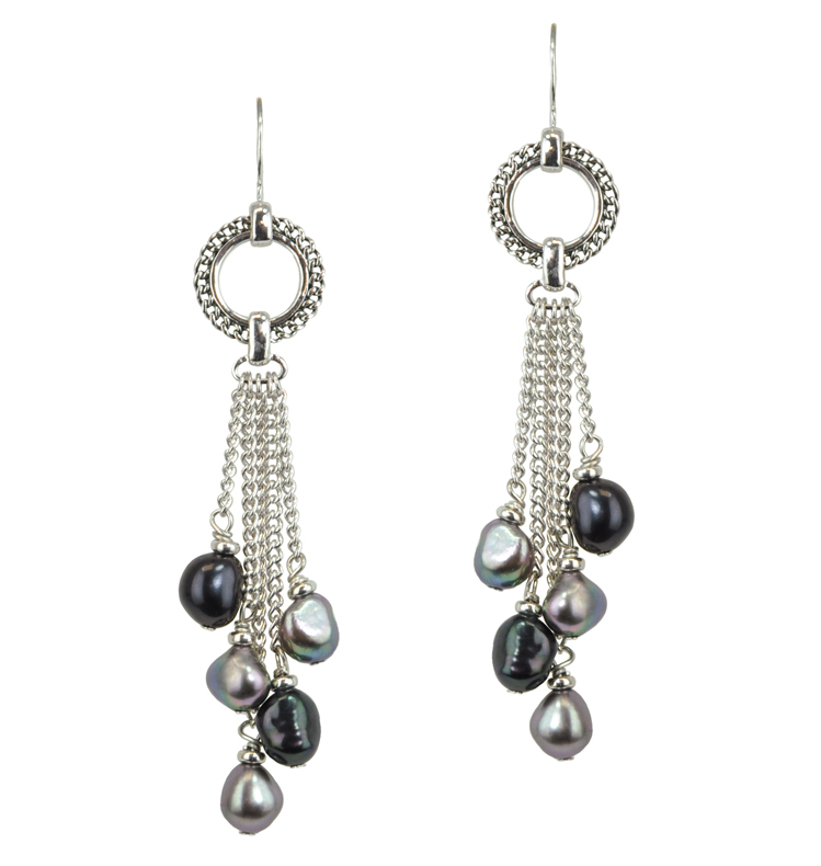 Sterling Silver 7-8mm Black and Jet Freshwater Cultured Pearl Dangle Earrings
