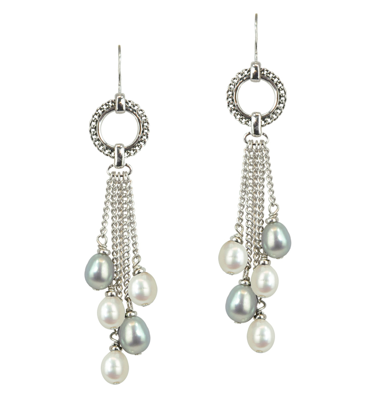 Sterling Silver 7-8mm White and Gray Freshwater Cultured Pearl Dangle Earrings