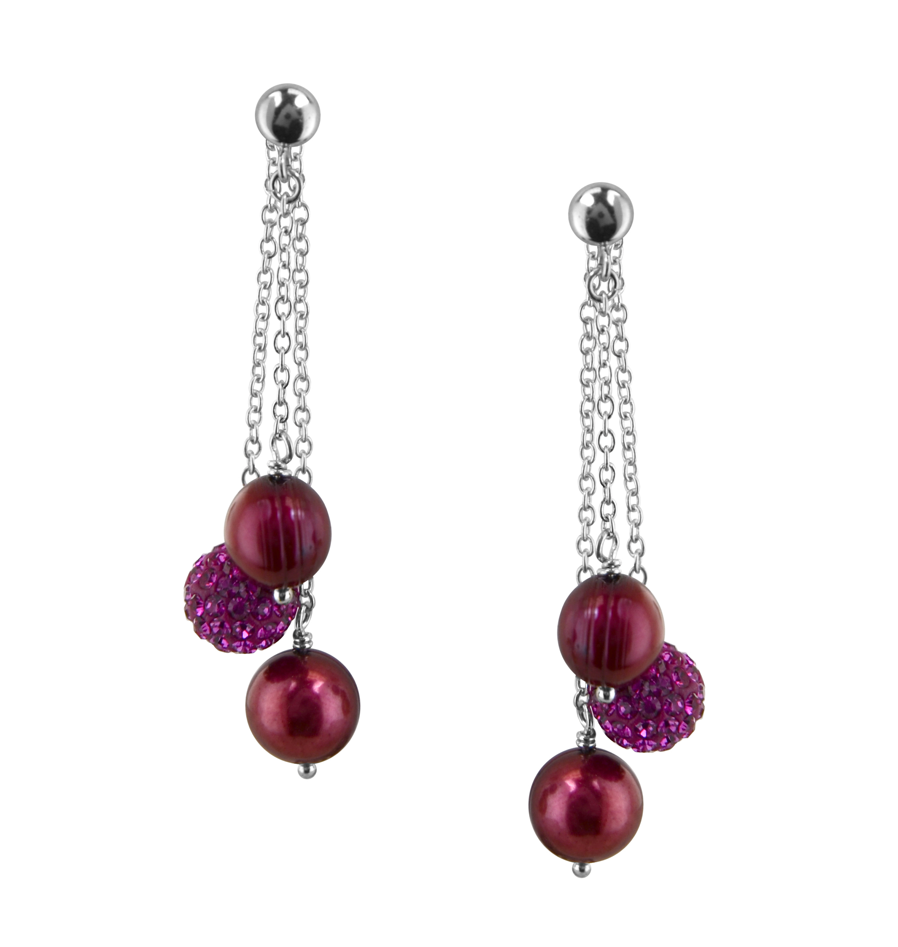Sterling Silver 8-9mm Cherry Round Ringed Freshwater Cultured Pearl and 8mm Pave Crystal Bead Drop Earring