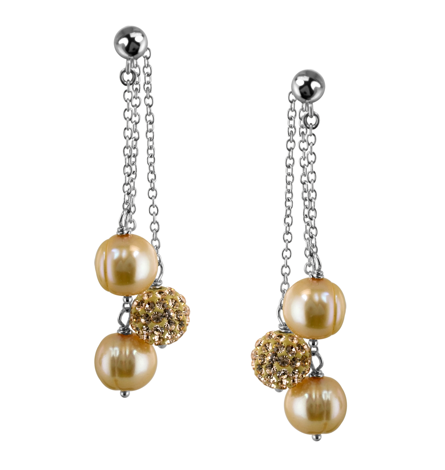 Sterling Silver 8-9mm Champagne Round Ringed Freshwater Cultured Pearl and 8mm Pave Crystal Bead Drop Earring