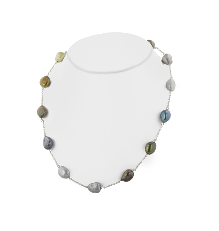 Sterling Silver 9-10MM Dark Multi Freshwater Cultured Pearl 18 Necklace
