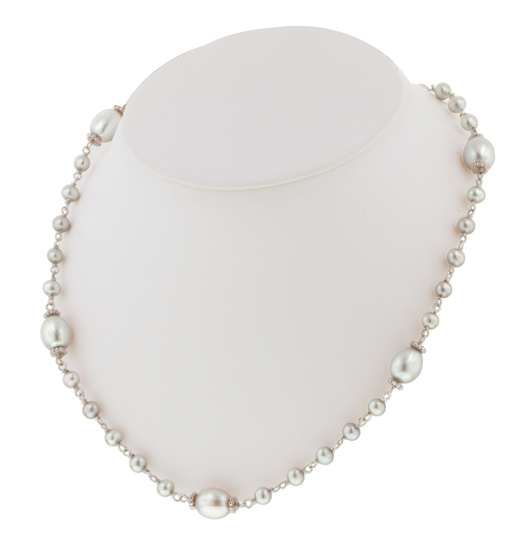 Sterling Silver 4.5-9MM White Freshwater Cultured Pearl 18 Necklace