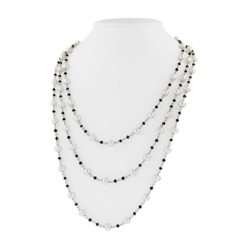 Sterling Silver 6.5-7MM Potato White Freshwater Cultured Pearl and Onyx 60 Necklace