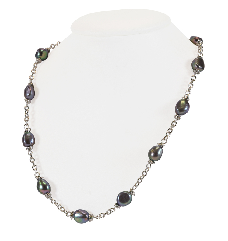 Sterling Silver 9-10MM Black Baroque Freshwater Cultured Pearl 18 Necklace