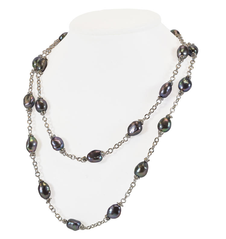 Sterling Silver 9-10MM Black Baroque Freshwater Cultured Pearl 36 Necklace