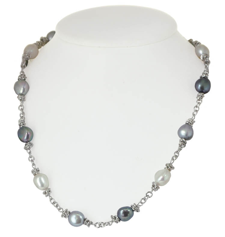 Sterling Silver 9-10MM Black White Gray Baroque Freshwater Cultured Pearl 18 Necklace