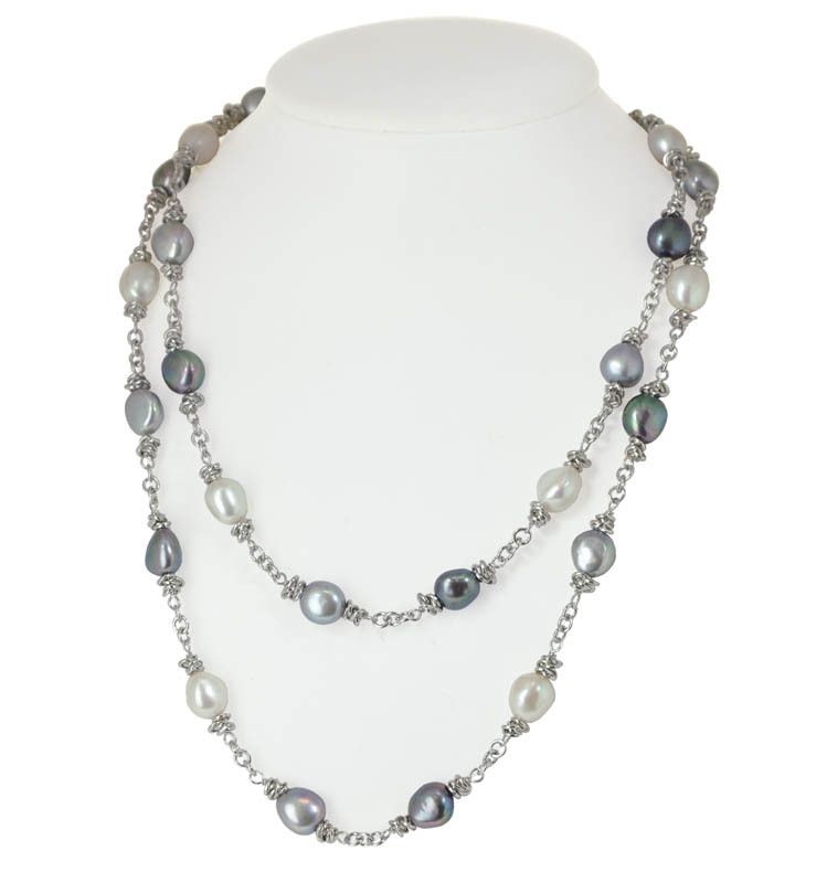 Sterling Silver 9-10MM Black White Gray Baroque Freshwater Cultured Pearl 36 Necklace