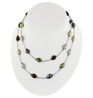 Sterling Silver 9-10mm Dark Multi Baroque Freshwater Cultured Pearl 36 Necklace