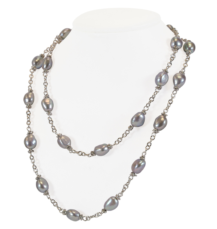 Sterling Silver 9-10MM Gray Baroque Freshwater Cultured Pearl 36 Necklace