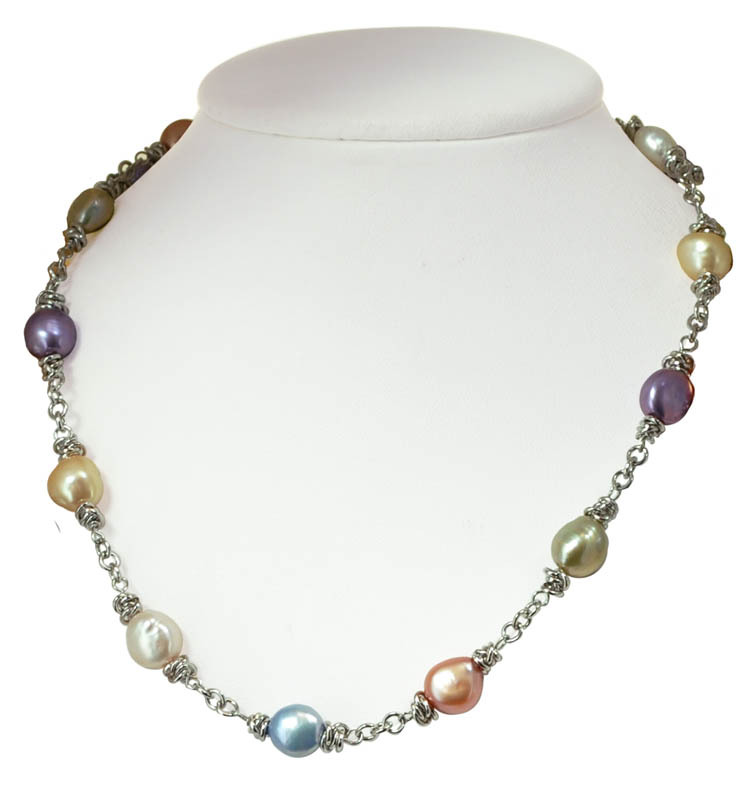 Sterling Silver 9-10MM Wildflower Baroque Freshwater Cultured Pearl 18 Necklace