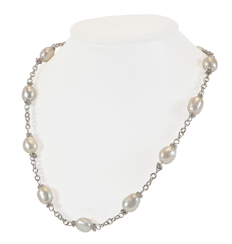 Sterling Silver 9-10MM White Baroque Freshwater Cultured Pearl 18 Necklace