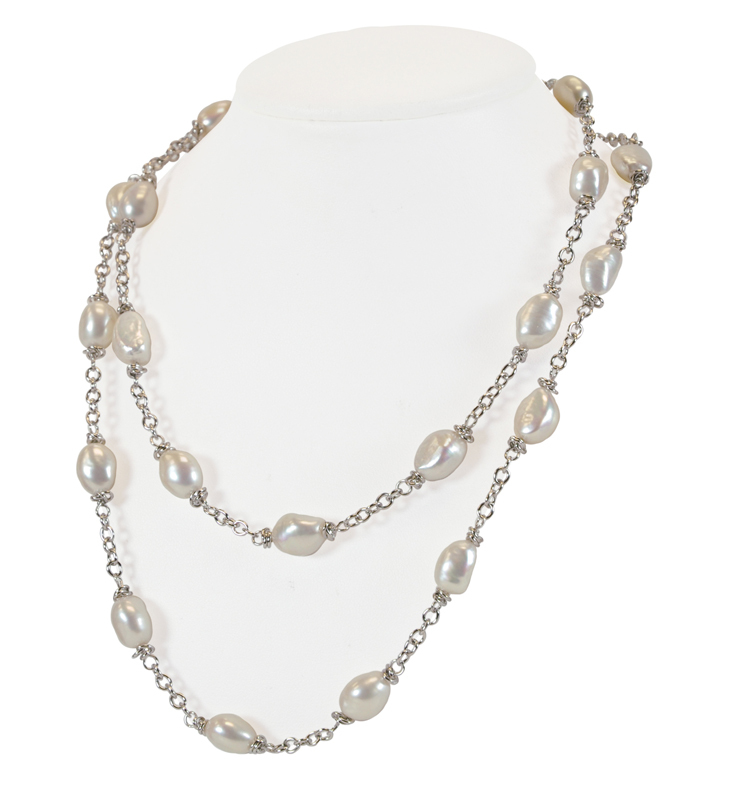 Sterling Silver 9-10MM White Baroque Freshwater Cultured Pearl 36 Necklace