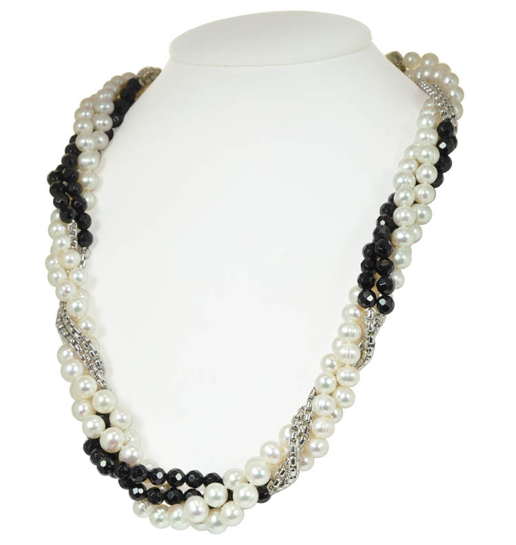 Sterling Silver Four Strand 6-8MM White Ringed Freshwater Cultured Pearl Black Onyx Necklace
