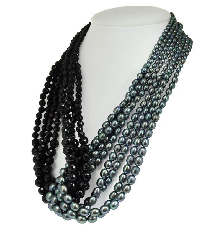 Sterling Silver Eight Strand 3.5-7.5MM Black Oval Freshwater Cultured Pearl Black Onyx Necklace