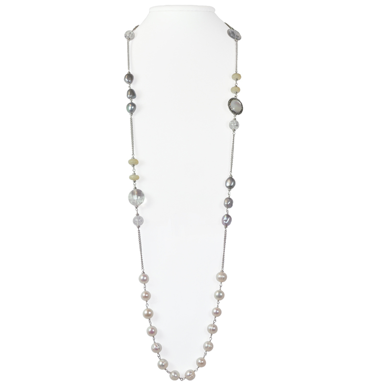 Sterling Silver 9-10MM White and Gray Cultured Pearl with Multi Gemstone 36 Necklace