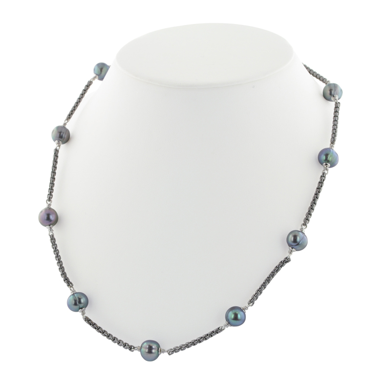 Sterling Silver 8-9mm Black Round Ringed Freshwater Cultured Pearl Tincup Black Rhodium 18 Necklace