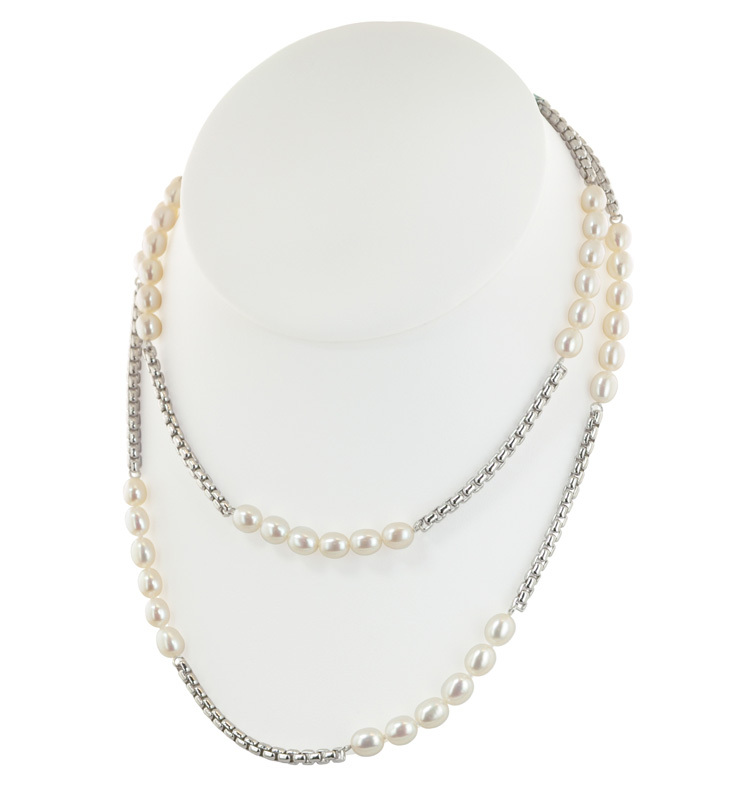 Sterling Silver 5-6mm White Oval Freshwater Cultured Pearl 36 Necklace