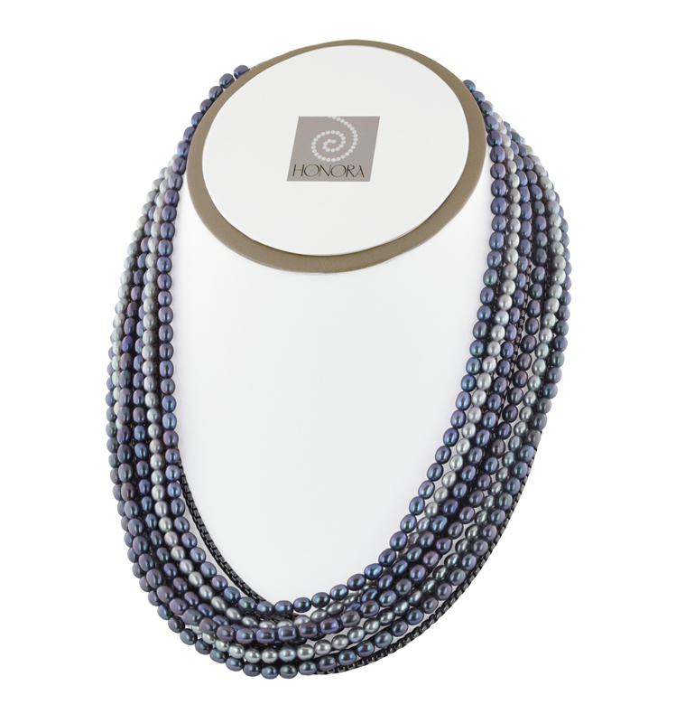 Sterling Silver 4-7.5mm Black/Gray Freshwater Cultured Pearl Eleven Row Black Rhodium 17 Necklace with 3 Extender