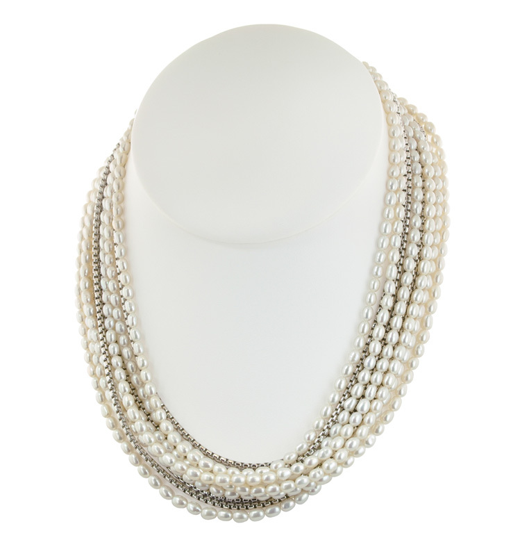 Sterling Silver 4-7.5mm White Freshwater Cultured Pearl Eleven Row 17 Necklace with 3 Extender
