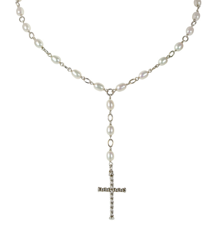 Sterling Silver 4-5mm White Oval Freshwater Cultured Pearl Rosary Cross 20 Necklace
