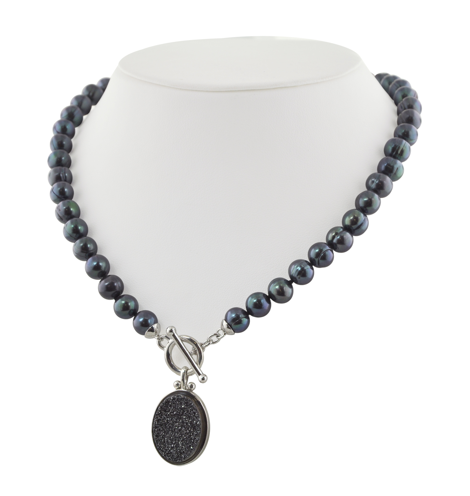 Sterling Silver 7-8mm Black Round Ringed Freshwater Cultured Pearl with Black Agate Druzy 18 Toggle Necklace