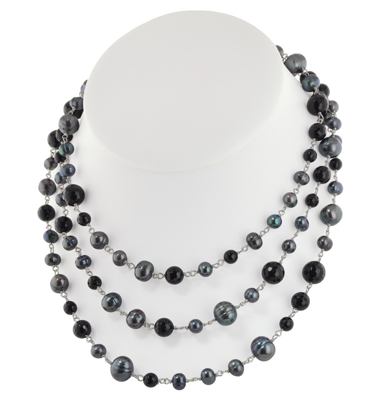Sterling Silver 6-10mm Black Round Ringed Freshwater Cultured Pearl with Faceted Black Onyx 54 Necklace