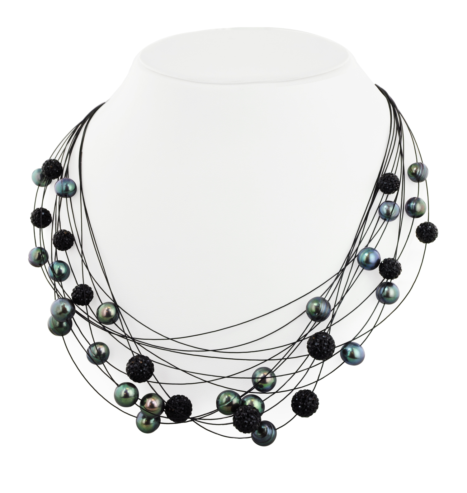 Sterling Silver 7-10mm Black Round Ringed Freshwater Cultured Pearl and 8mm Pave Crystal Bead Steel Wire Galaxy Necklace