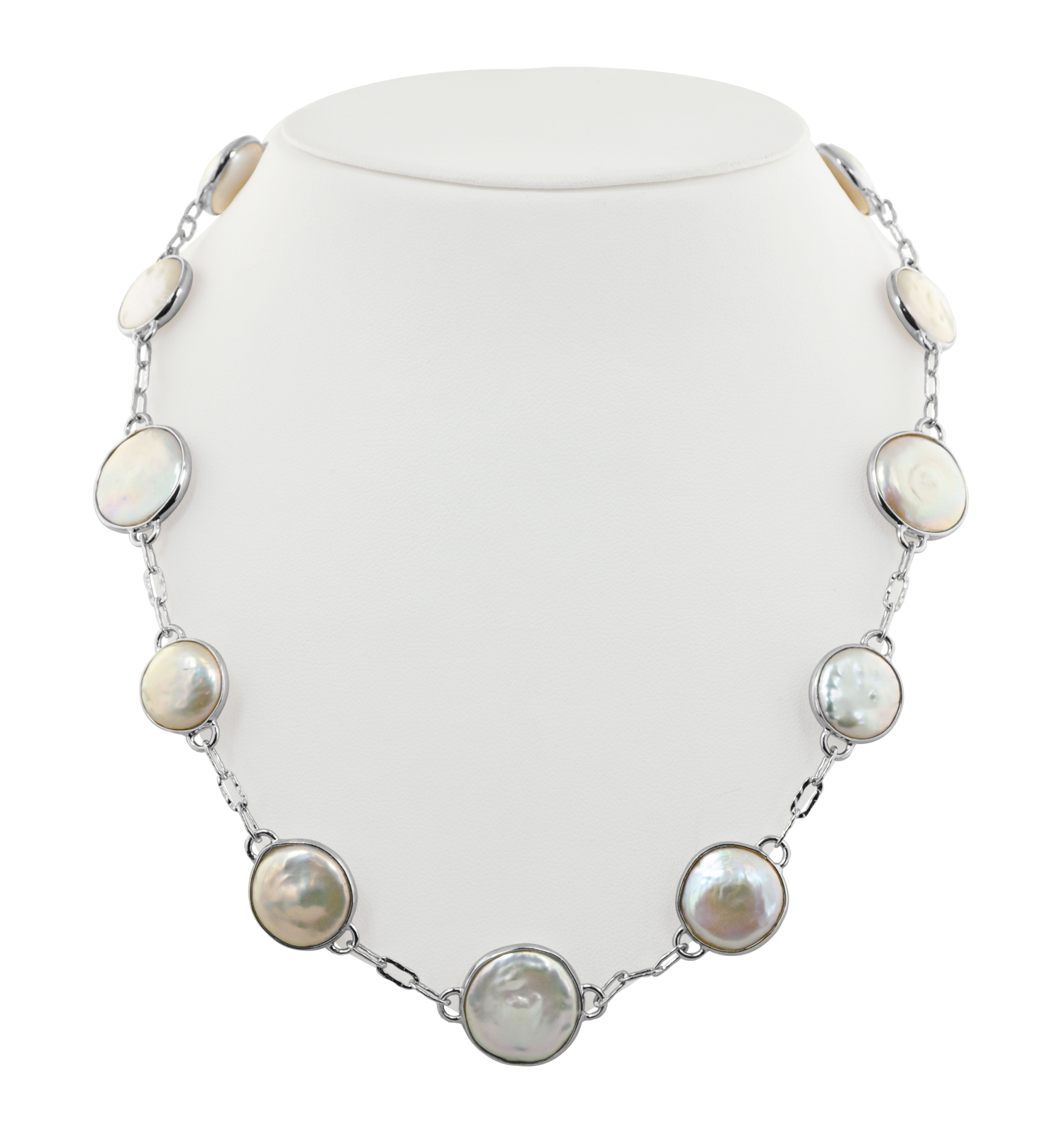 Sterling Silver 12-16mm White Baroque Coin Freshwater Cultured Pearl 18 Necklace