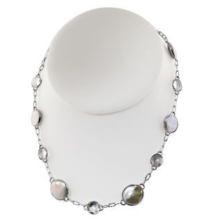 Sterling Silver 13-16mm White Baroque Coin Freshwater Cultured Pearl with Rock Crystal 18 Necklace