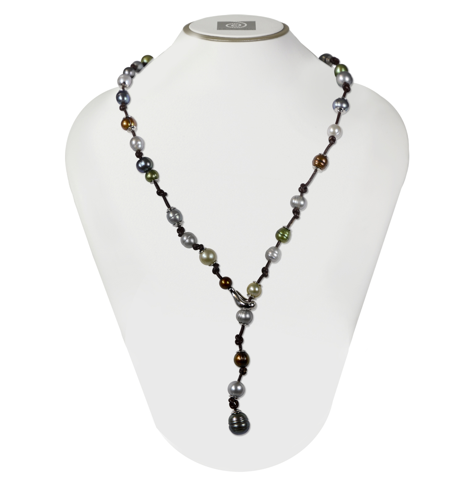 Sterling Silver 7-12mm Dark Mutli Ringed Freshwater Cultured Pearl on Chocolate Leather 22 Necklace